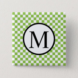 Simple Monogram with Yellow Green Checkerboard 2 Inch Square Button