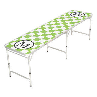 Simple Monogram with Yellow Green Checkerboard Beer Pong Table