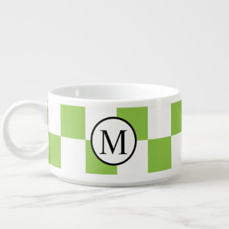 Simple Monogram with Yellow Green Checkerboard Bowl