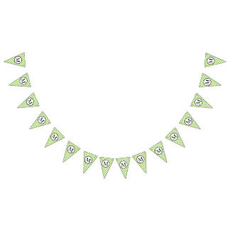 Simple Monogram with Yellow Green Checkerboard Bunting Flags