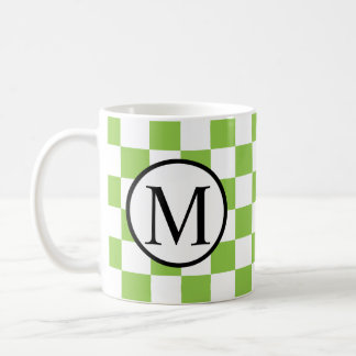 Simple Monogram with Yellow Green Checkerboard Coffee Mug