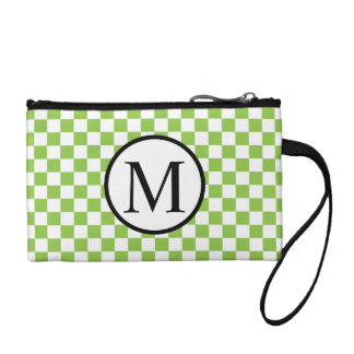 Simple Monogram with Yellow Green Checkerboard Coin Purse