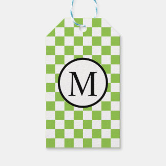 Simple Monogram with Yellow Green Checkerboard Gift Tags