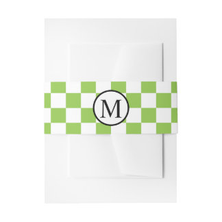 Simple Monogram with Yellow Green Checkerboard Invitation Belly Band