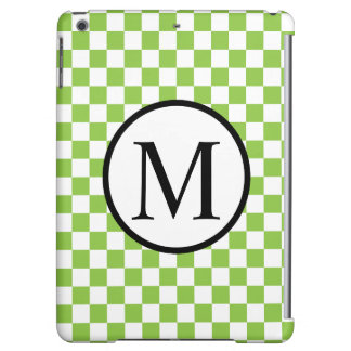 Simple Monogram with Yellow Green Checkerboard iPad Air Covers