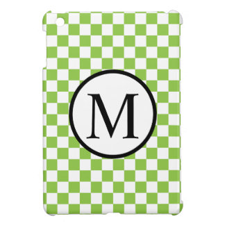 Simple Monogram with Yellow Green Checkerboard iPad Mini Covers