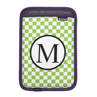 Simple Monogram with Yellow Green Checkerboard iPad Mini Sleeve
