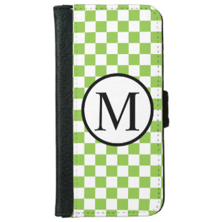 Simple Monogram with Yellow Green Checkerboard iPhone 6 Wallet Case