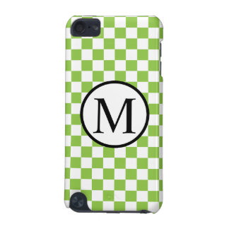 Simple Monogram with Yellow Green Checkerboard iPod Touch 5G Covers