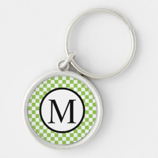 Simple Monogram with Yellow Green Checkerboard Keychain