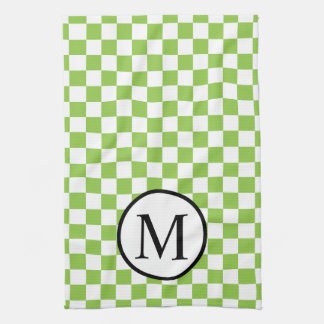 Simple Monogram with Yellow Green Checkerboard Kitchen Towel