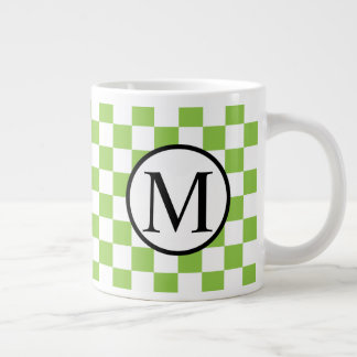 Simple Monogram with Yellow Green Checkerboard Large Coffee Mug