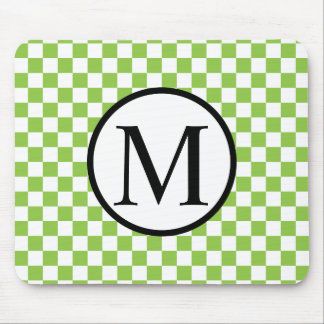 Simple Monogram with Yellow Green Checkerboard Mouse Pad