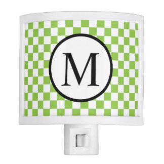 Simple Monogram with Yellow Green Checkerboard Night Lites