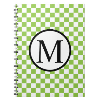 Simple Monogram with Yellow Green Checkerboard Notebook