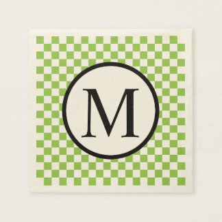 Simple Monogram with Yellow Green Checkerboard Paper Napkin