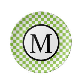 Simple Monogram with Yellow Green Checkerboard Plate