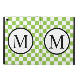 Simple Monogram with Yellow Green Checkerboard Powis iPad Air 2 Case