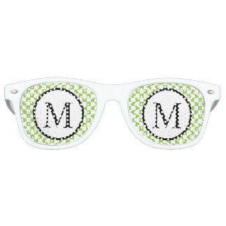 Simple Monogram with Yellow Green Checkerboard Retro Sunglasses