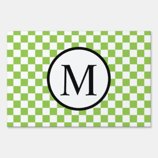 Simple Monogram with Yellow Green Checkerboard Sign