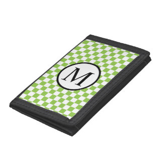 Simple Monogram with Yellow Green Checkerboard Tri-fold Wallet