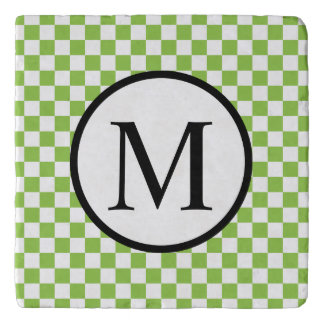 Simple Monogram with Yellow Green Checkerboard Trivet