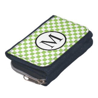 Simple Monogram with Yellow Green Checkerboard Wallets