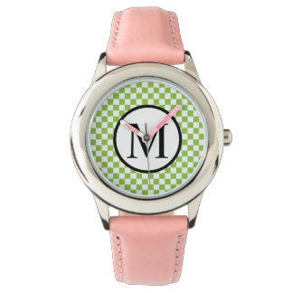 Simple Monogram with Yellow Green Checkerboard Watch