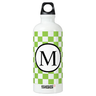 Simple Monogram with Yellow Green Checkerboard Water Bottle