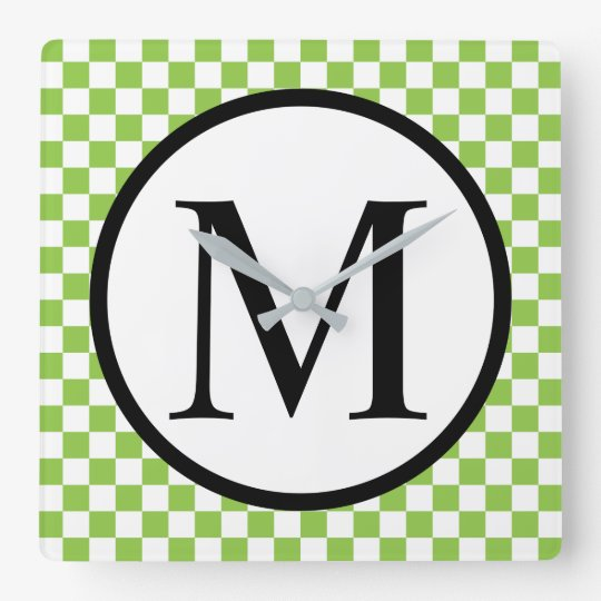 Simple Monogram with Yellow Green Chequerboard Square Wall Clock