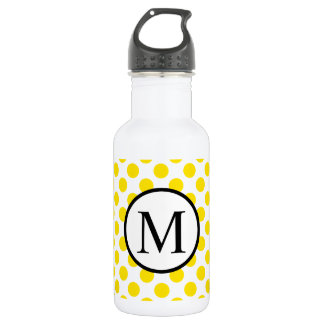 Simple Monogram with Yellow Polka Dots 532 Ml Water Bottle