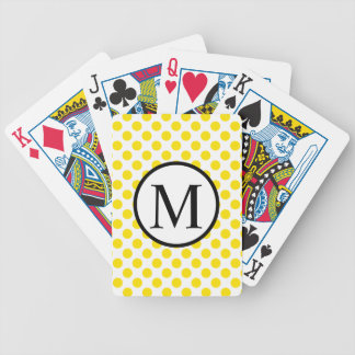 Simple Monogram with Yellow Polka Dots Bicycle Playing Cards