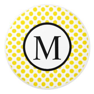 Simple Monogram with Yellow Polka Dots Ceramic Knob