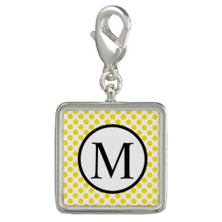 Simple Monogram with Yellow Polka Dots Charms