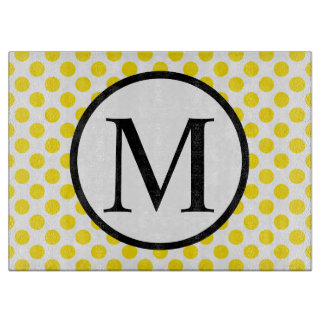 Simple Monogram with Yellow Polka Dots Cutting Board
