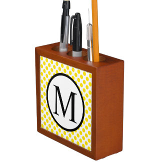 Simple Monogram with Yellow Polka Dots Desk Organizer
