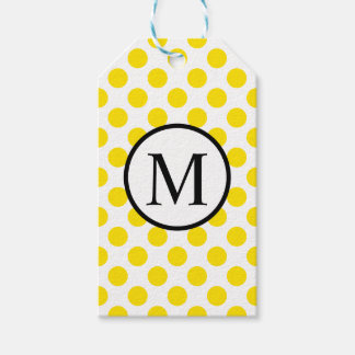 Simple Monogram with Yellow Polka Dots Gift Tags