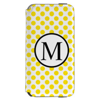 Simple Monogram with Yellow Polka Dots Incipio Watson™ iPhone 6 Wallet Case