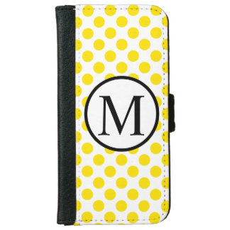 Simple Monogram with Yellow Polka Dots iPhone 6 Wallet Case
