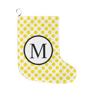 Simple Monogram with Yellow Polka Dots Large Christmas Stocking