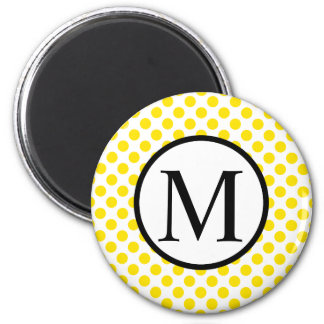 Simple Monogram with Yellow Polka Dots Magnet
