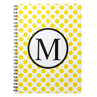 Simple Monogram with Yellow Polka Dots Notebook
