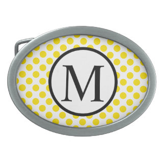 Simple Monogram with Yellow Polka Dots Oval Belt Buckle