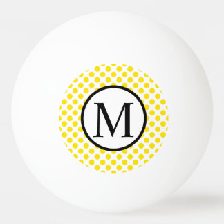 Simple Monogram with Yellow Polka Dots Ping Pong Ball