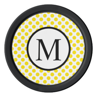 Simple Monogram with Yellow Polka Dots Poker Chips