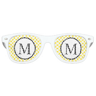 Simple Monogram with Yellow Polka Dots Retro Sunglasses