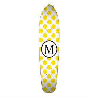 Simple Monogram with Yellow Polka Dots Skateboard