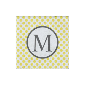 Simple Monogram with Yellow Polka Dots Stone Magnets