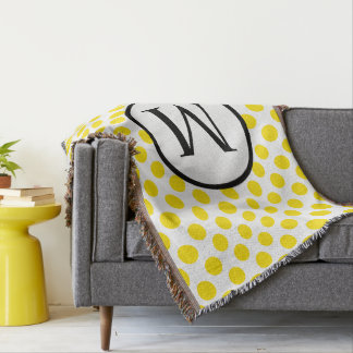 Simple Monogram with Yellow Polka Dots Throw Blanket