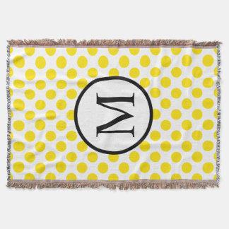 Simple Monogram with Yellow Polka Dots Throw Blanket